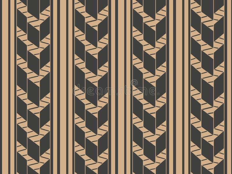 För modellbakgrund för vektor damast sömlös retro linje för ram för kors för geometri Elegant lyxig brun signaldesign för tapeter stock illustrationer