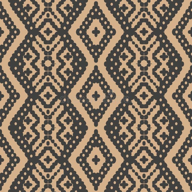 För modellbakgrund för vektor infödd ram för damast sömlöst retro för kontroll kors för geometri Elegant lyxig brun signaldesign  royaltyfri illustrationer