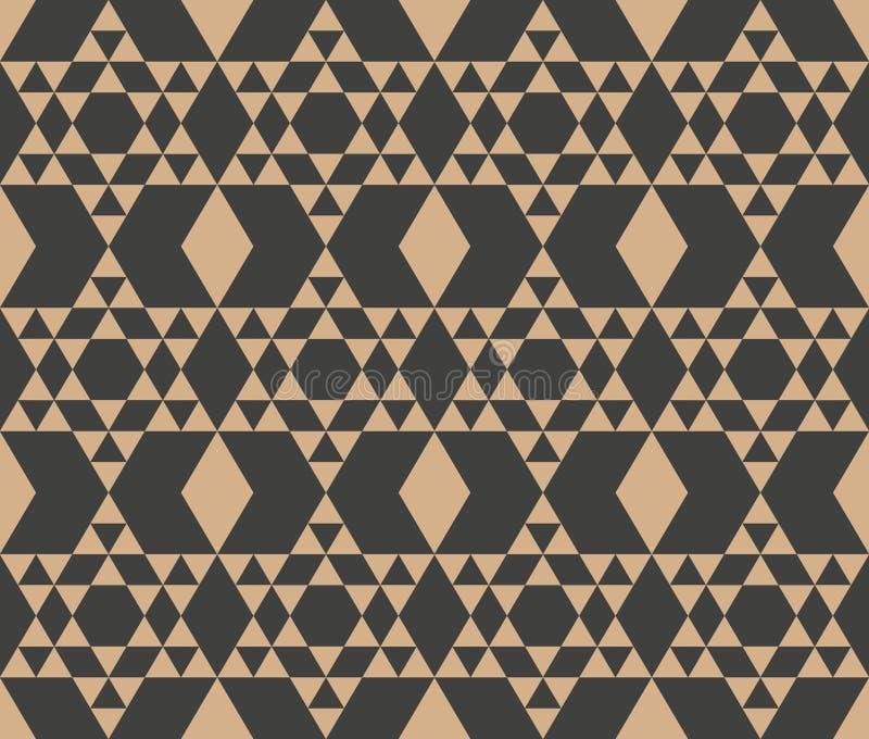 För modellbakgrund för vektor kontroll för ram för damast sömlös retro för polygon triangel för geometri arg Elegant lyxig brun s royaltyfri illustrationer