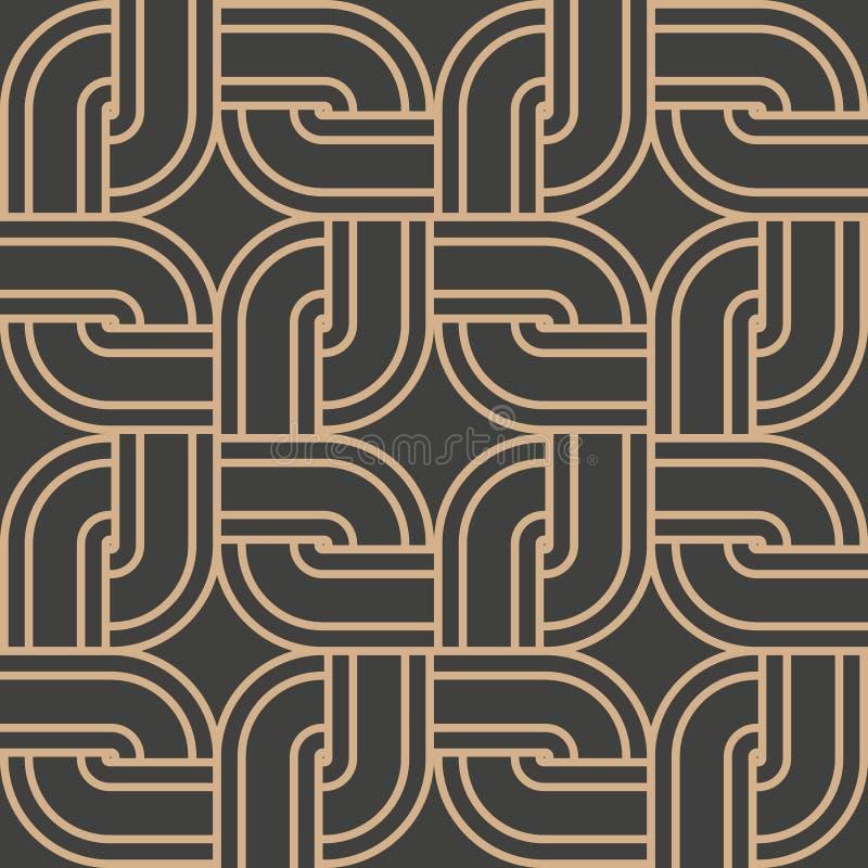 För modellbakgrund för vektor linje för kedja för ram för damast sömlöst retro för runda hörn för kurva arg fyrkantig Elegant lyx royaltyfri illustrationer