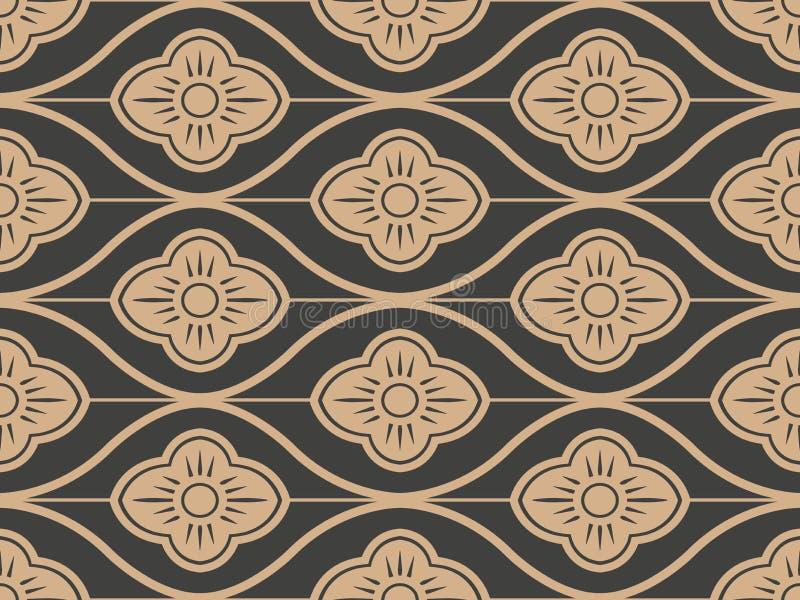 För modellbakgrund för vektor linje för ram för damast sömlös retro kurva orientalisk arg blomma Elegant lyxig brun signaldesign  vektor illustrationer