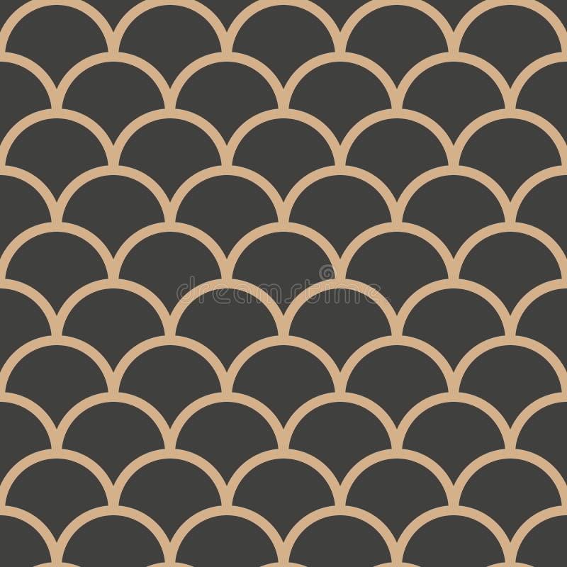 För modellbakgrund för vektor linje för ram för skala för damast sömlös retro kurva för runda arg Elegant lyxig brun signaldesign royaltyfri illustrationer