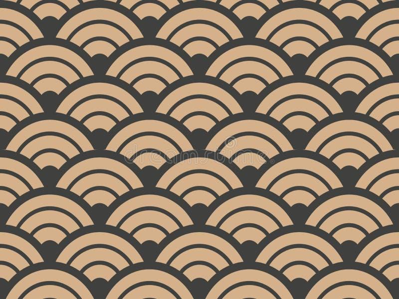 För modellbakgrund för vektor ram för skala för damast sömlös retro för geometri kurva för runda arg Elegant lyxig brun signaldes royaltyfri illustrationer