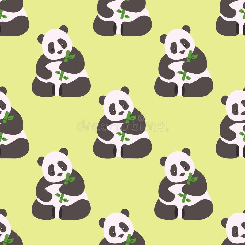 För modellbambu för panda för asia för zoo för garnering för sömlös björn för porslin lös däggdjurs- härlig vektor för bakgrund d stock illustrationer