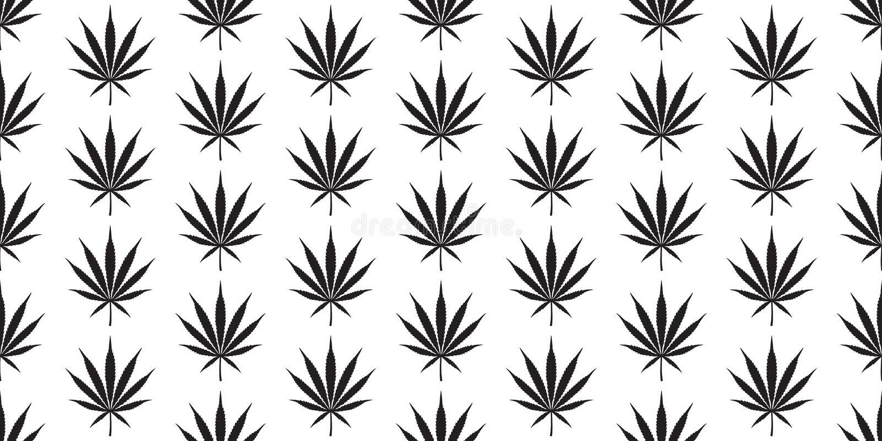 För modellcannabis för marijuana sömlös växt för bakgrund för tegelplatta för tapet för repetition för blad för ogräs halsduk iso stock illustrationer