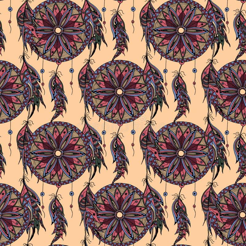För modelldröm för färg sömlös stoppare med fjädrar stock illustrationer