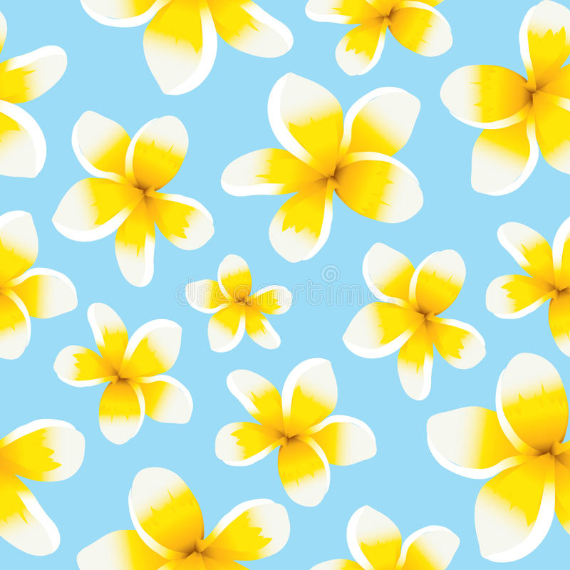 För modellguling för blom- bakgrund sömlös plumeria royaltyfri illustrationer