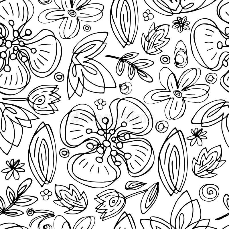 För modellhand för svartvit vektor sömlösa blom- blommor för abstrakt begrepp för attraktion på vit bakgrund royaltyfri illustrationer