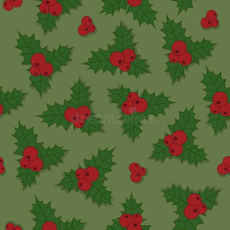 För modelljärnek för jul sömlös bär med gräsplansidor och rött vektor illustrationer