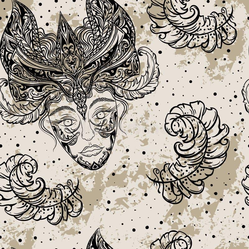 För modellkarneval för tappning sömlöst parti med det kvinnliga huvudet i maskeradmaskering och fjädrar på grungebakgrund royaltyfri illustrationer