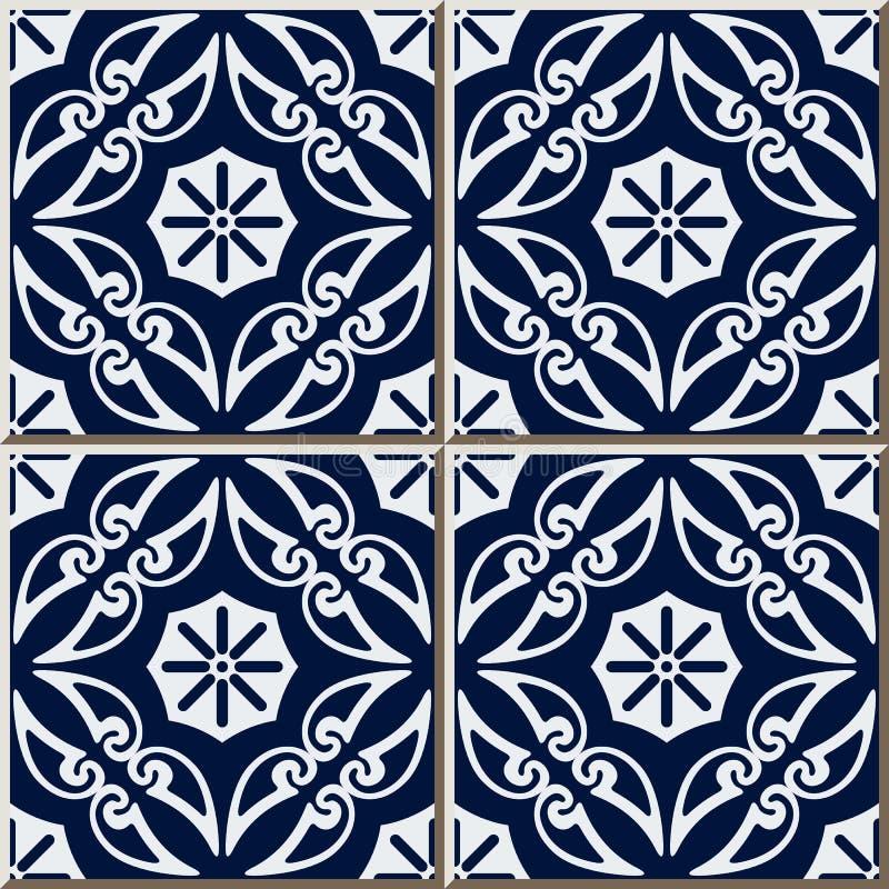 För modellkurva för keramisk tegelplatta blomma för vinranka för ram för kors för spiral vektor illustrationer