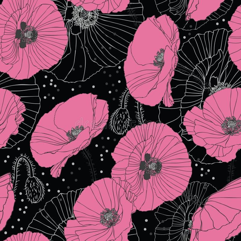För modellmörker för delikata rosa vallmo sömlös bakgrund stock illustrationer