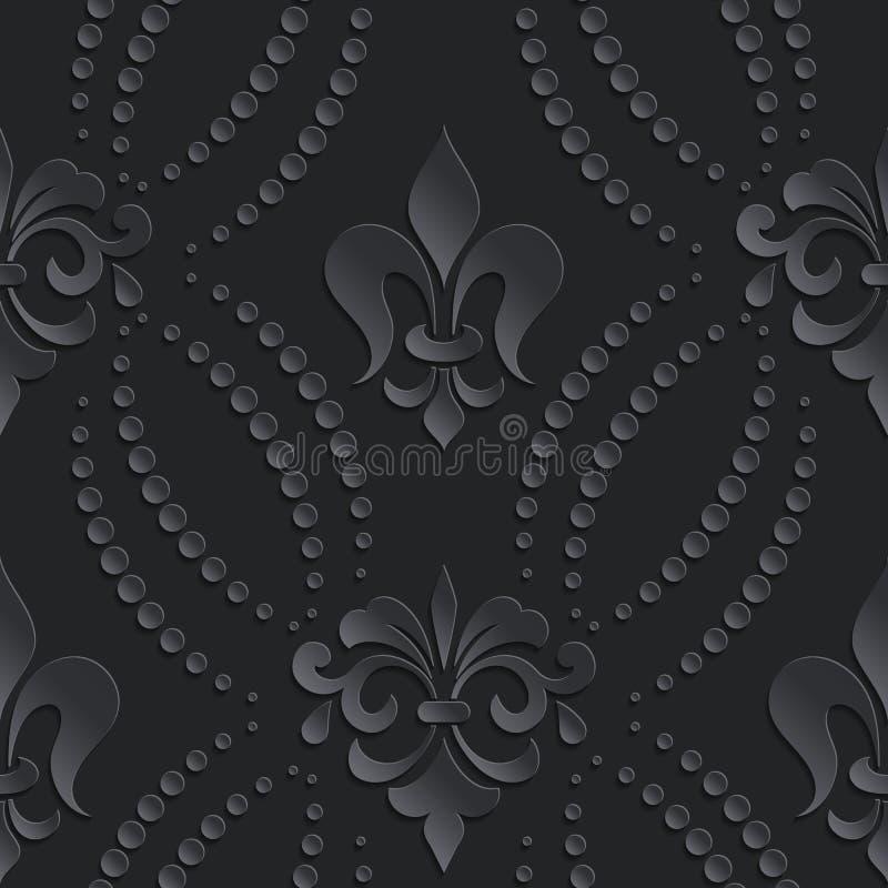 För modellmörker för vektor damast sömlös beståndsdel Elegant lyxig textur för tapeter, bakgrunder och sidan fyller vektor illustrationer