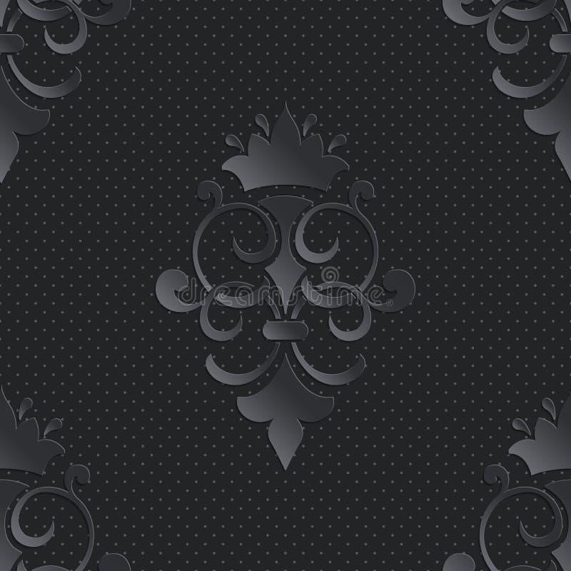 För modellmörker för vektor damast sömlös beståndsdel Elegant lyxig textur för tapeter, bakgrunder och sidan fyller stock illustrationer