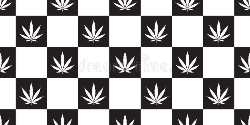 För modellmarijuana för ogräs sömlös design för illustration för bakgrund för tegelplatta för tapet för repetition för blad för c stock illustrationer