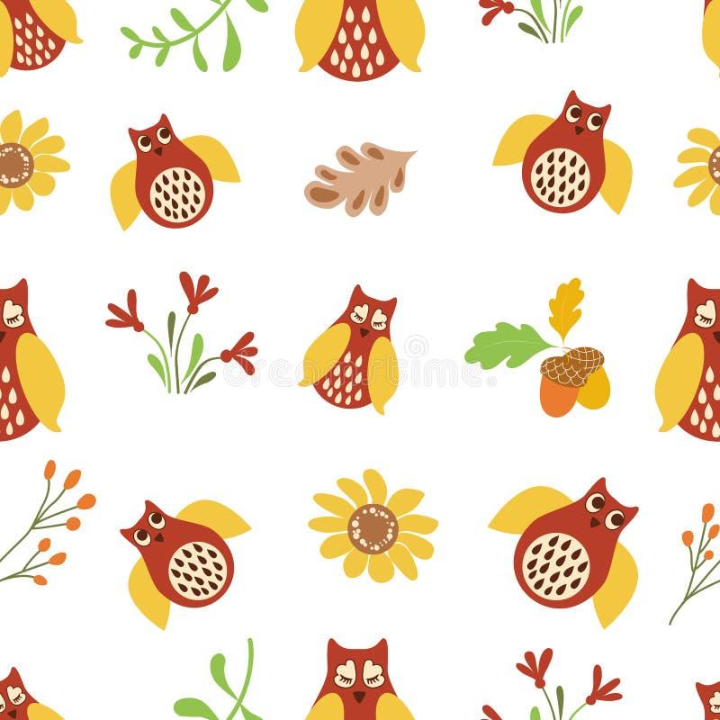För modellnatur för uggla gulligt sömlöst vektor för bakgrund för skog för blommor för fågel för bakgrund klotter upprepad royaltyfri illustrationer