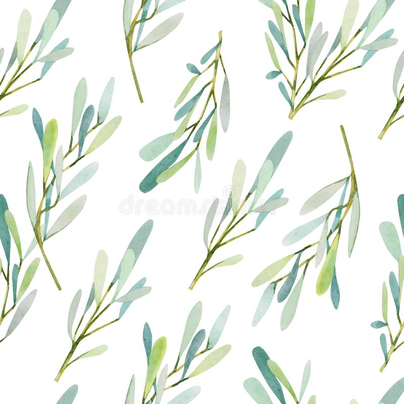 För modelloliv för vattenfärg texturerar sömlösa filialer bakgrund royaltyfri illustrationer