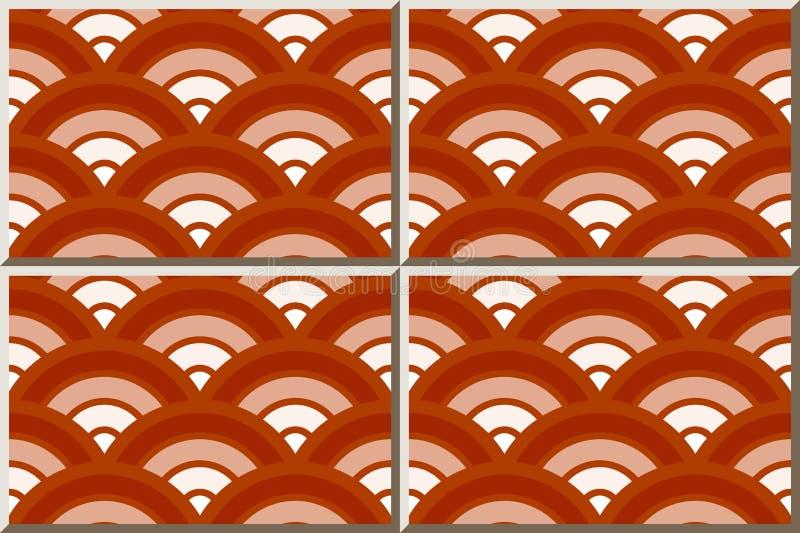 För modellrunda för keramisk tegelplatta lutning för skala för kors för kurva röd royaltyfri illustrationer