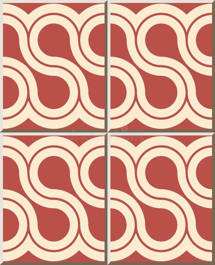 För modellSpirl för keramisk tegelplatta linje för ram för kors kurva stock illustrationer