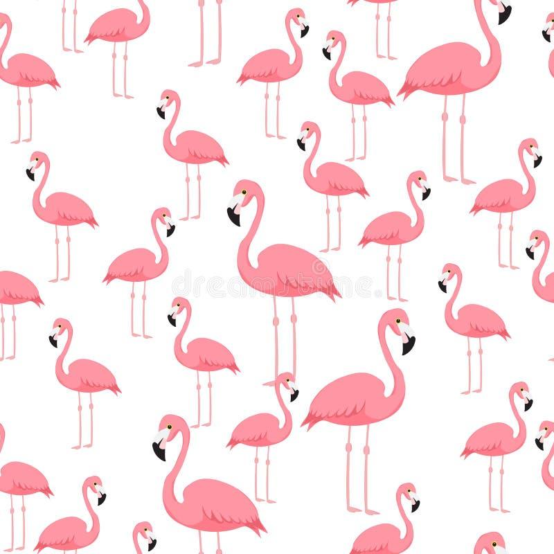 För modellstrand för rosa flamingo sömlös tapet för tryck för konst royaltyfri illustrationer