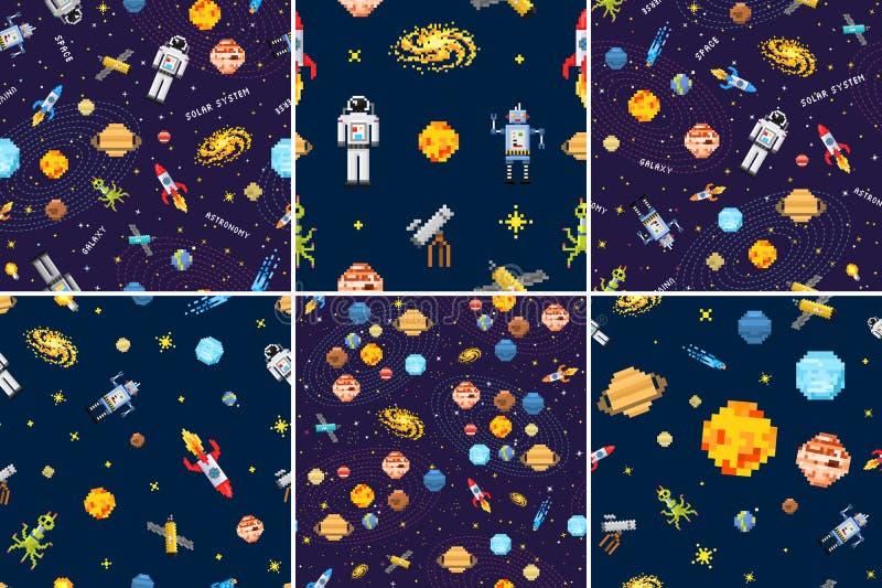 För modelluppsättning för utrymme sömlös bakgrund, främmande astronaut, robotraket och konst för PIXEL för planeter för satellitk vektor illustrationer