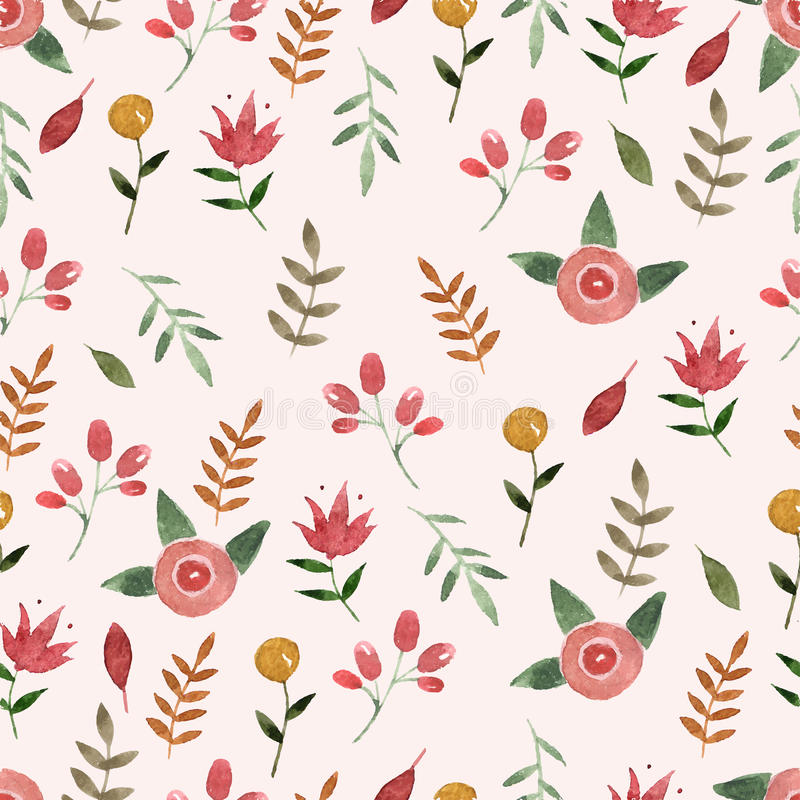 För modellvattenfärg för natur sömlös dragit blad hand royaltyfri illustrationer