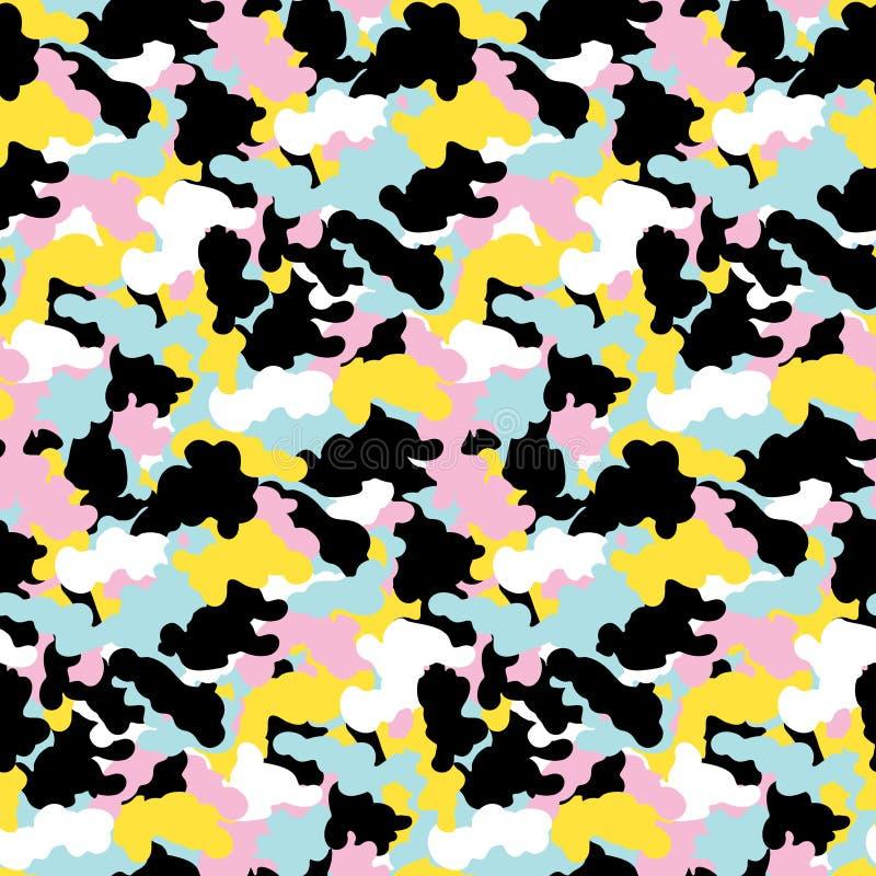 För modellvektor för färgrik abstrakt kamouflage sömlös bakgrund Modern bakgrund för design för konst för memphis militär stilcam vektor illustrationer