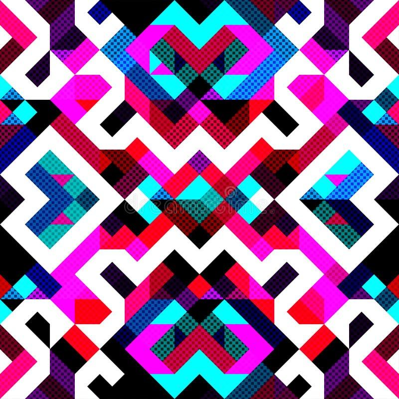 För modellvektor för PIXEL härlig abstrakt geometrisk sömlös illustration vektor illustrationer