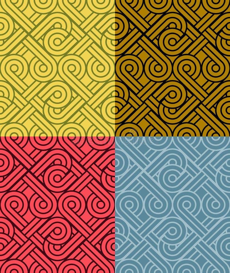 För modellvektor för tappning sömlösa färgrika bakgrunder stock illustrationer