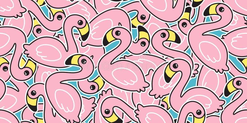 För modellvektor för flamingo isolat för halsduk för tapet för repetition för bakgrund för tegelplatta för tecknad film f stock illustrationer