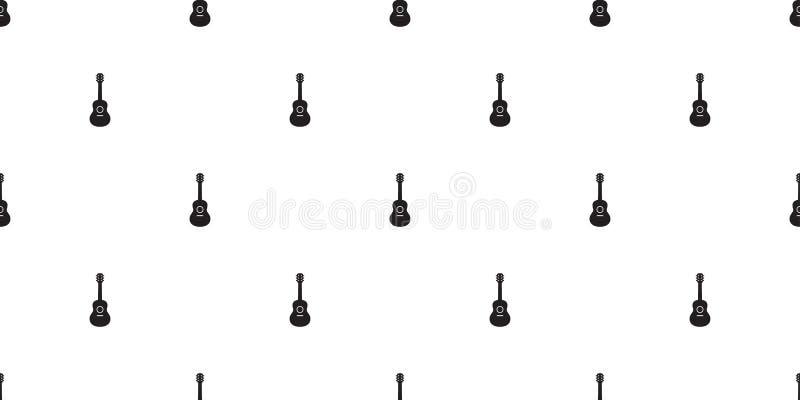 För modellvektor för gitarr sömlös bakgrund för tegelplatta för tapet för repetition för illustration för tecknad film för musik  vektor illustrationer
