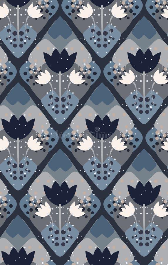 För modellvektor för grå blomma sömlös scandinavian för blom- design primitiv vektor illustrationer