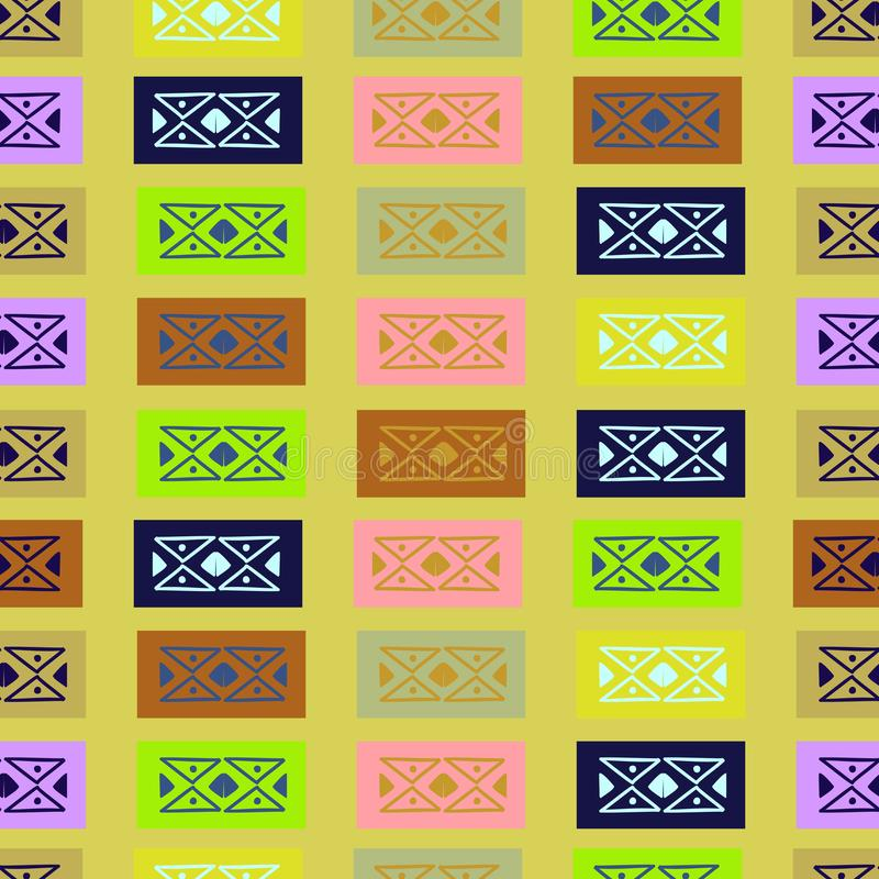 för modellvektor för hand utdragen geometrisk sömlös illustration för modetextiltryck Elegant flerfärgad bakgrund vektor illustrationer