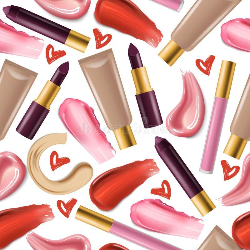 För modellvektor för läppstift bakgrund för illustration för makeup för kant för lipgloss för sömlöst härligt mode för röd färg r stock illustrationer
