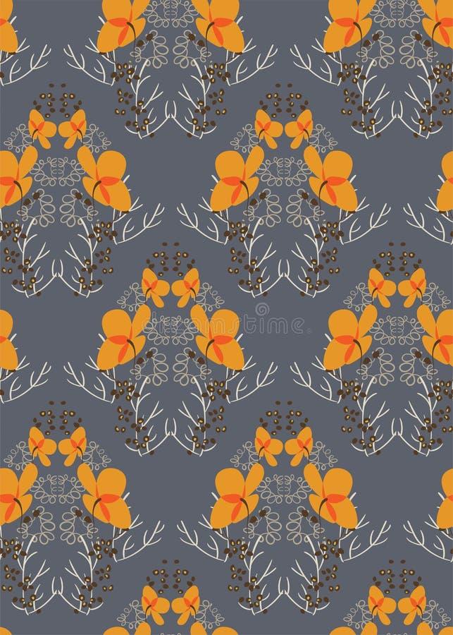 För modellvektor för orange blomma grå sömlös scandinavian för blom- design primitiv vektor illustrationer