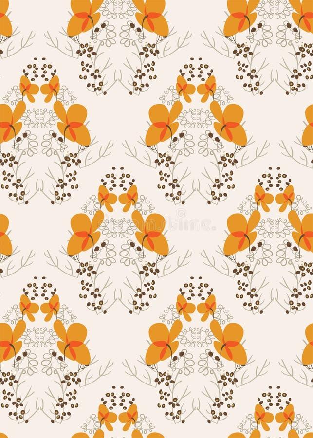 För modellvektor för orange blomma sömlös scandinavian för blom- design primitiv royaltyfri illustrationer