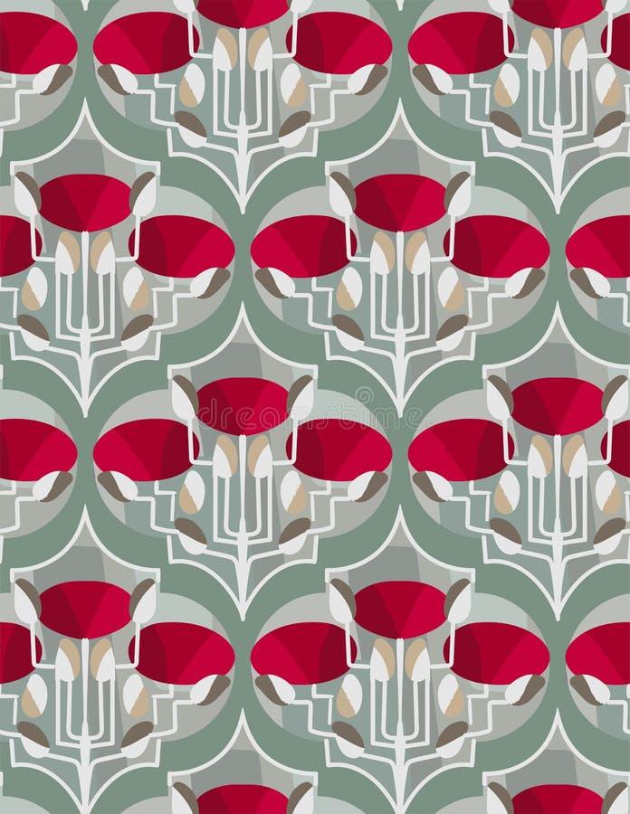 För modellvektor för röda vallmo sömlös scandinavian för blom- design primitiv royaltyfri illustrationer