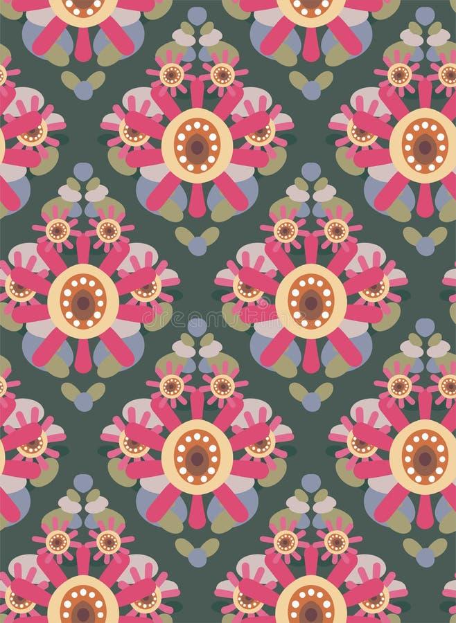För modellvektor för rosa blomma blå sömlös scandinavian för blom- design primitiv vektor illustrationer