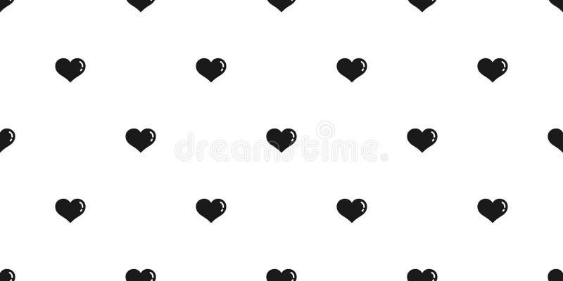 För modellvektorn för hjärta isolerade den sömlösa valentin svart för bakgrund för tecknad filmklottertapet royaltyfri illustrationer
