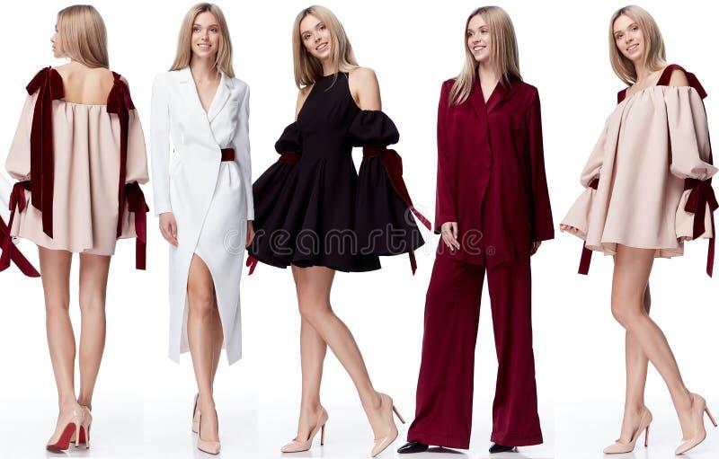 För modemodell för collage sexig nätt stil fo för kläder för kvinna för blont hår arkivfoto