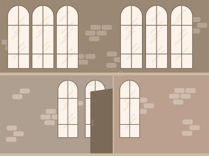 För modernt inre tom plats vindkontor för vektor i plan stil vektor illustrationer