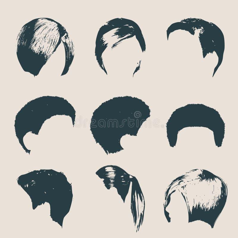 För modesalong för kvinnor moderna frisyrer och moderiktig frisyr stock illustrationer