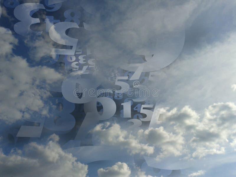 För molnbakgrund för slumpmässiga nummer frambragd illustration royaltyfria foton