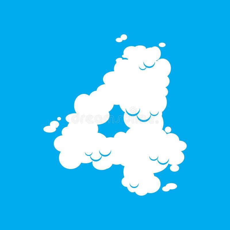 För molnstilsort för nummer 4 symbol Vitt alfabettecken fyra på blå himmel royaltyfri illustrationer