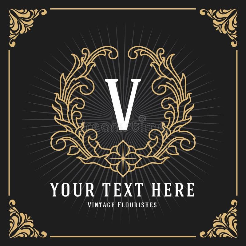 För monogrambaner för tappning lyxig design för mall royaltyfri illustrationer