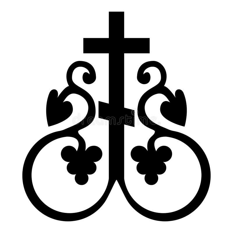 För monogramsymbolet för den arga vinrankan ankrar det religiösa korset för det arga hemliga tecknet för nattvardsgången för färg stock illustrationer