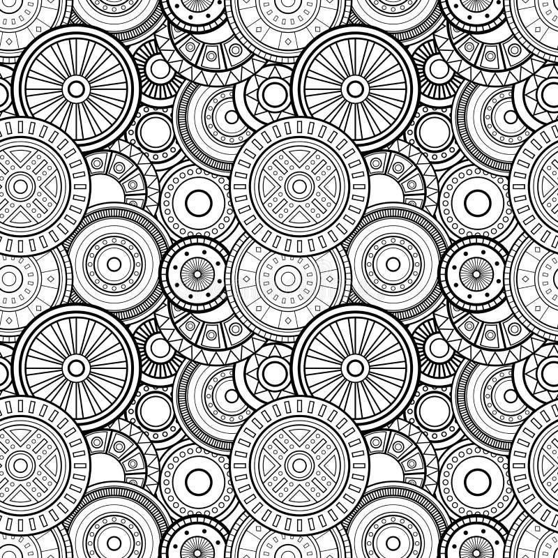 För monokromcirklar för vektor sömlös modell royaltyfri illustrationer