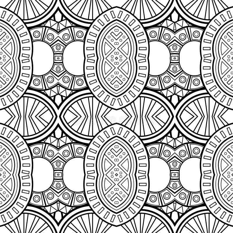För monokromcirklar för vektor sömlös modell stock illustrationer