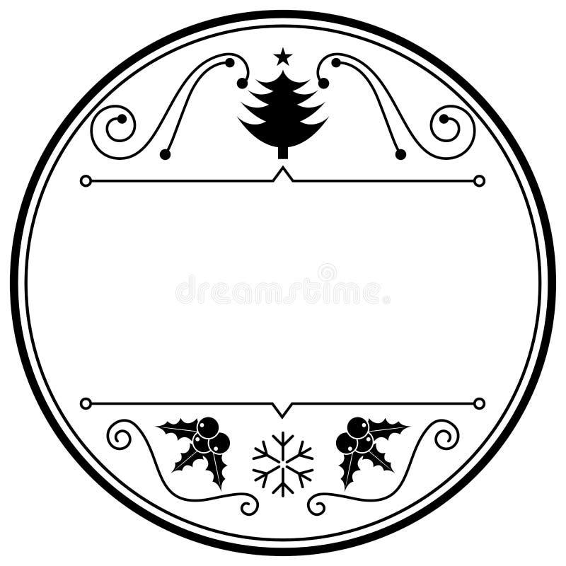 För monokrommellanrum för jul themed klistermärke vektor illustrationer