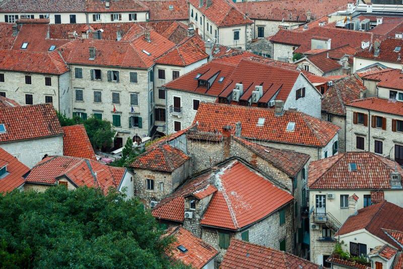 för montenegro för kotor för öga för fågelbyggnadseffekt miniatyrsikt för town för vippning gammal förskjutning arkivbild